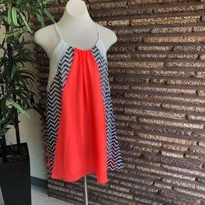 Double Zero Neon Orange Brown Swing Halter Dress